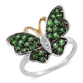 Tsavorite Garnet, Cambodian Zircon 14K YG and Platinum Over Sterling Silver Butterfly Ring (Size 9.0) TGW 1.690 cts.
