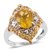 Canary Fluorite, Yellow Sapphire 14K YG and Platinum Over Sterling Silver Ring (Size 6.0) TGW 5.48 cts.