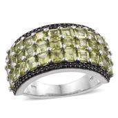 Arizona Peridot, Thai Black Spinel Platinum Over Sterling Silver Ring (Size 6.0) TGW 6.250 cts.