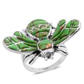 Santa Fe Style Mojave Green Turquoise Sterling Silver Ring (Size 8.0) TGW 4.650 cts.