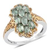 Green Kyanite 14K YG and Platinum Over Sterling Silver Openwork Ring (Size 7.0) TGW 3.250 cts.