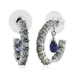 Catalina Iolite, Green Kyanite Platinum Over Sterling Silver Inside Out Removable Charm J-Hoop Earrings TGW 5.54 cts.