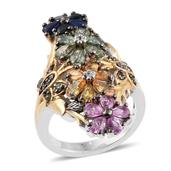 Multi Sapphire, Cambodian Zircon 14K YG and Platinum Over Sterling Silver Elongated Floral Ring (Size 6.0) TGW 5.11 cts.