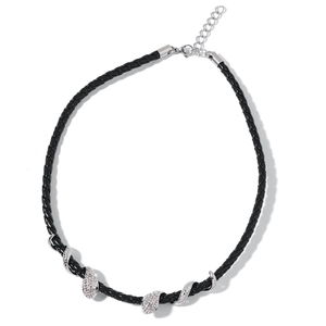 White and Black Austrian Crystal, Black Faux Leather Stainless Steel Snake Necklace (18 in) TGW 1.040 Cts.