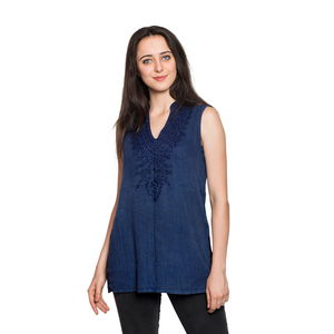 Navy Blue Embroidered 100% Viscose Crepe Sleeveless Top (S/M) (W: 18.5in, L: 28in)