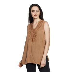 Brown Embroidered 100% Viscose Crepe Sleeveless Top (L/XL) (W:20in, L:28.5in)