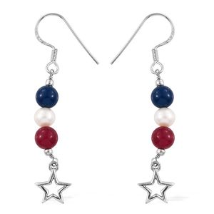 Blue and Red Quartzite, Freshwater Pearl Sterling Silver Dangle Star Earrings TGW 6.60 cts.