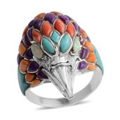 Santa Fe Style Kingman Turquoise, Multi Gemstone Sterling Silver Eagle's Head Men's Ring (Size 14.0) TGW 2.252 cts.