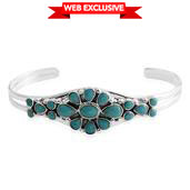 Santa Fe Style Kingman Turquoise Sterling Silver Cuff (7 in) TGW 6.00 cts.