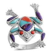 Santa Fe Style Multi Gemstone Sterling Silver Frog Ring (Size 7.0) TGW 2.00 cts.