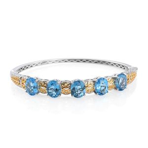 Marambaia Topaz 14K YG and Platinum Over Sterling Silver Bangle (7.25 in) TGW 15.40 cts.