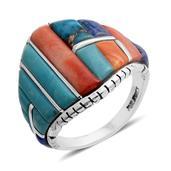 Santa Fe Style Lapis Lazuli, Multi Gemstone Sterling Silver Men's Ring (Size 11.0) TGW 13.601 cts.