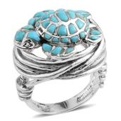 Santa Fe Style Mojave Blue Turquoise Sterling Silver Turtle Ring (Size 8.0) TGW 3.87 cts.