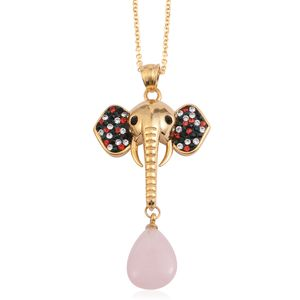 Galilea Rose Quartz, Multi Color Austrian Crystal Goldtone Elephant Head Drop Pendant With ION Plated YG Stainless Steel Chain (20 in) TGW 10.50 cts.