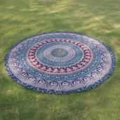 Home Textiles Blue 100% Cotton Mandala Beach Mat