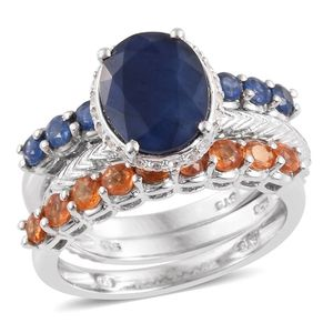 Multi Sapphire, Cambodian Zircon Platinum Over Sterling Silver Stack Rings (Engraved Solitaire, 2 Half Eternity Bands) (Size 10.0) TGW 6.89 cts.