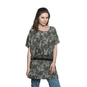 Screen Printed Black Paisley Print 100% Polyester Scoop Neck, Cold Shoulder, Elastic Waistband Plated Tunic (Free Size)
