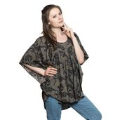 Screen Printed 100% Polyester Olive Green Paisley Poncho (One Size Fits All)