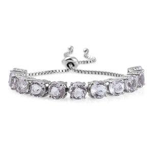 XIA Kunzite Platinum Over Sterling Silver Bracelet (Adjustable) Total Gem Stone Weight 17.200 Carat