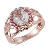 Dan's Collector Deals XIA Kunzite, Pink Tourmaline 14K RG Over Sterling Silver Ring (Size 9.0) TGW 4.50 cts.