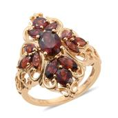 Mozambique Garnet 14K YG Over Sterling Silver Ring (Size 6.0) TGW 4.91 cts.