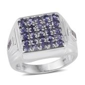Catalina Iolite, White Topaz Platinum Over Sterling Silver Signet Cluster Men's Ring (Size 14.0) TGW 2.95 cts.