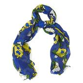 Royal Blue Floral Pattern 100% Mulberry (Tabby) Silk Scarf (40x70 in)