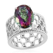 Northern Lights Mystic Topaz, Cambodian Zircon Platinum Over Sterling Silver Openwork Ring (Size 7.0) TGW 6.78 cts.