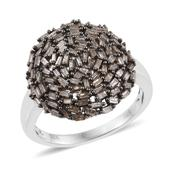 Champagne Diamond Platinum Over Sterling Silver Cluster Ring (Size 10.0) TDiaWt 1.00 cts, TGW 1.00 cts.