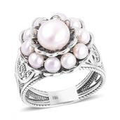 Freshwater Pearl Sterling Silver Ring (Size 9.0)