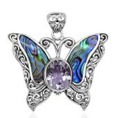 Bali Legacy Collection Abalone Shell, Rose De France Amethyst Sterling Silver Butterfly Pendant without Chain TGW 16.110 Cts.