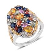 Multi Sapphire 14K YG and Platinum Over Sterling Silver Cluster Ring (Size 6.0) TGW 4.970 cts.