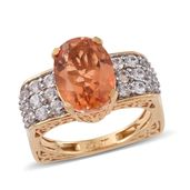 Imperial Quartz, White Zircon 14K YG Over Sterling Silver Euro Style Ring (Size 10.0) TGW 8.28 cts.
