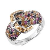 Multi Sapphire 14K YG and Platinum Over Sterling Silver Cluster Buckle Ring (Size 5.0) TGW 3.28 cts.