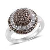 Champagne Diamond, Diamond Black Rhodium and Platinum Over Sterling Silver Ring (Size 7.0) TDiaWt 1.03 cts, TGW 1.03 cts.
