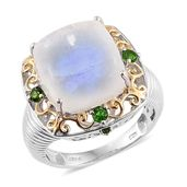 Sri Lankan Rainbow Moonstone, Russian Diopside 14K YG and Platinum Over Sterling Silver Openwork Ring (Size 8.0) TGW 17.55 cts.