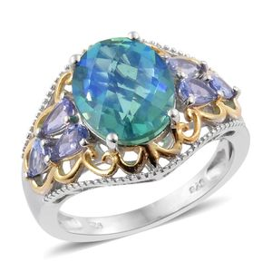 Peacock Quartz, Tanzanite 14K YG and Platinum Over Sterling Silver Ring (Size 6.0) TGW 6.50 cts.