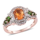Salamanca Fire Opal, Russian Diopside, White Zircon 14K RG Over Sterling Silver Ring (Size 7.0) TGW 2.02 cts.