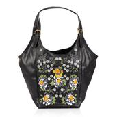 Black Floral Embroidered 100% Genuine Leather Hobo Handbag (16x20x8.5 in)