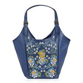 Blue Floral Embroidered 100% Genuine Leather Hobo Handbag (16x20x8.5 in)