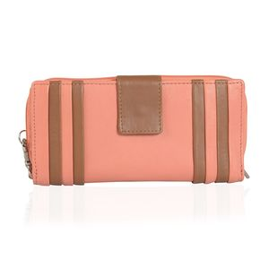 Coral and Brown Genuine Leather RFID Wallet