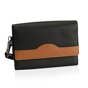 Tan and Black 100% Genuine Leather RFID Wallet (5.9x4.1 in)