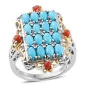 Arizona Sleeping Beauty Turquoise, Mediterranean Coral, Tanzanite 14K YG and Platinum Over Sterling Silver Ring (Size 5.0) TGW 4.70 cts.
