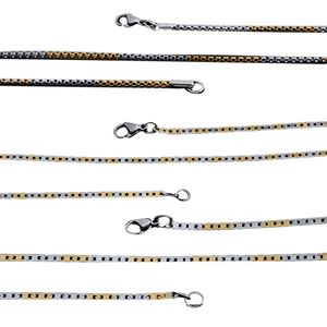 Set of 3 ION Plated YG and Stainless Steel Mesh Box and Mariner Chains (16, 18 in)