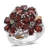 Mozambique Garnet, Russian Diopside, Cambodian Zircon 14K YG and Platinum Over Sterling Silver Floral Ring (Size 7.0) TGW 9.96 cts.