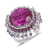 Radiant Orchid Quartz, Orissa Rhodolite Garnet, Amethyst Platinum Over Sterling Silver Ring (Size 10.0) TGW 20.33 cts.