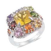 Canary Fluorite, Multi Gemstone Platinum Over Sterling Silver Ring (Size 10.0) TGW 7.48 cts.