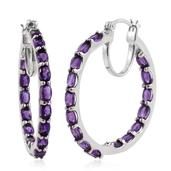 Srikant's Showstopper Amethyst Platinum Over Sterling Silver Inside Out Hoop Earrings TGW 7.640 Cts.