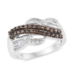 Champagne Diamond, Diamond Platinum Over Sterling Silver Ring (Size 10.0) TDiaWt 0.76 cts, TGW 0.76 cts.