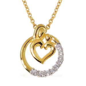 Simulated White Diamond 14K YG Over and Sterling Silver Pendant With ION Plated YG Stainless Steel Chain (20 in) TGW 0.300 Cts.